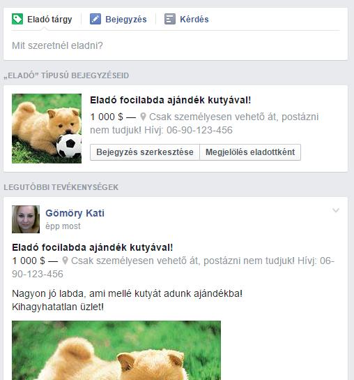 facebook csoport termék eladása funkció 5