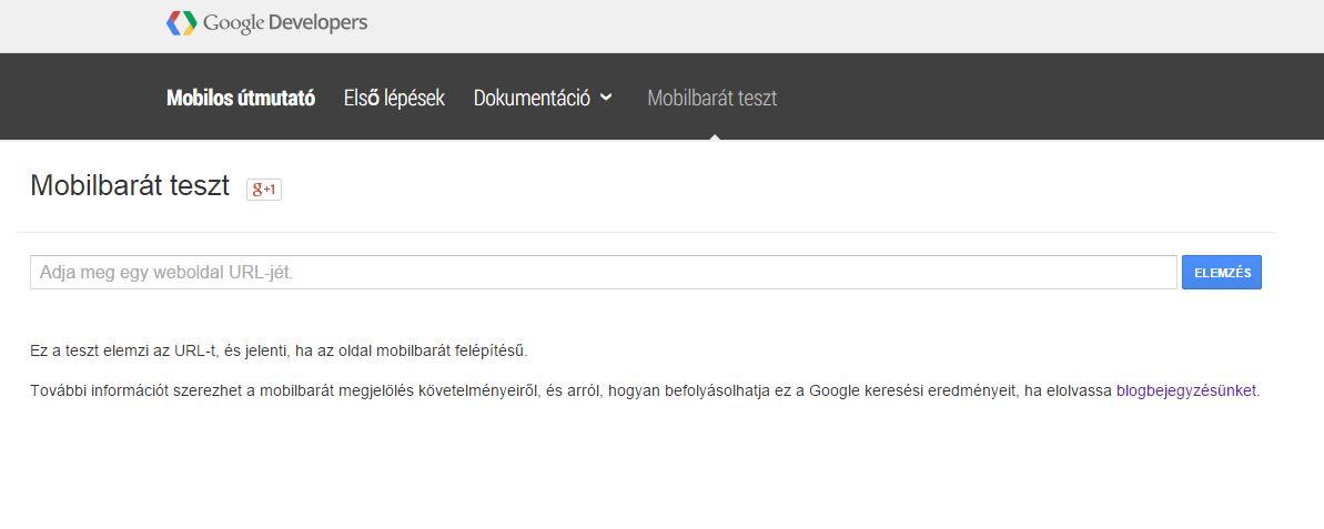 google developers mobilbarát teszt weboldal