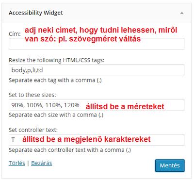accessibility widget betűméret váltás