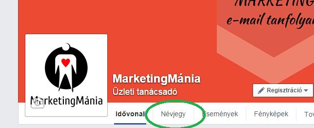 Facebook oldal névjegy