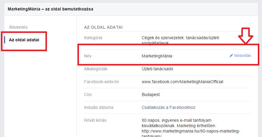 Facebook oldal nevének módosítása